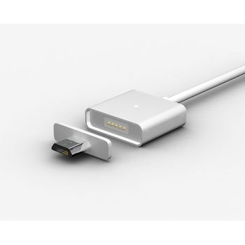 WSKEN MicroUSB magnetický nabíjecí/datový kabel (ekv.Znaps), dvě koncovky, 1m, kov/plast, stříbrný