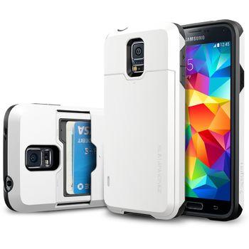 Spigen pevné pouzdro Slim Armor s příhrádkou na karty pro Samsung Galaxy S5, bílé