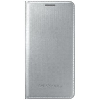 Samsung flipové pouzdro EF-FG850BS pro Galaxy Alpha, stříbrná