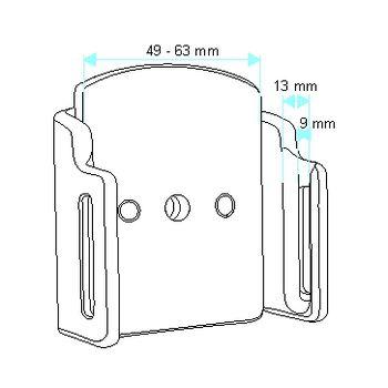 Brodit držák do auta na mobilní telefon nastavitelný, bez nabíjení, š. 49-63 mm, tl. 9-13 mm