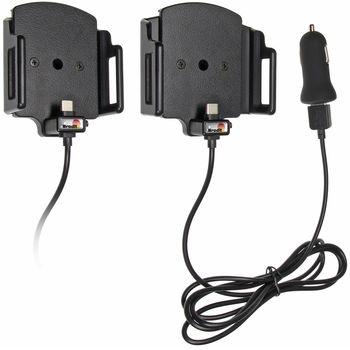 Brodit držák do auta nastavitelný s USB-C a nabíjením z cig. zapalovače/USB š. 62-77 mm, tl. 12-16